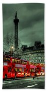 London Red Buses And Routemaster Beach Towel by Jasna Buncic
