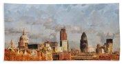 London Skyline From The River  Beach Towel
