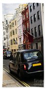 London Taxi On Shopping Street Beach Towel by Elena Elisseeva