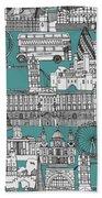 London Toile Blue Beach Towel