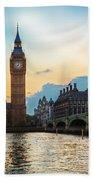 London Uk Big Ben The Palace Of Westminster At Sunset Beach Sheet