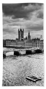 London Uk Big Ben The Palace Of Westminster In Black And White Beach Towel