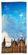 London Uk Big Ben The Palace Of Westminster Beach Towel