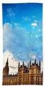 London Uk Big Ben The Palace Of Westminster Beach Sheet