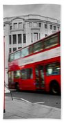 London Uk Red Phone Booth And Red Bus In Motion Beach Sheet