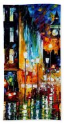 Londons Lights - Palette Knife Oil Painting On Canvas By Leonid Afremov Beach Towel