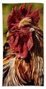 Lone Farm Rooster Portrait Beach Towel