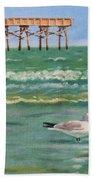 Lone Gull A-piers Beach Towel
