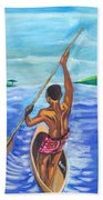 Lonely Boatman In Rwanda Beach Towel