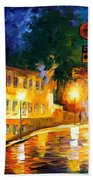 Lonely Night - Palette Knife Oil Painting On Canvas By Leonid Afremov Beach Towel