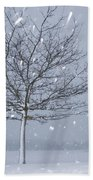 Lonely Tree In Snow Bavaria Beach Towel