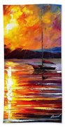 Lonely Yacht - Palette Knife Oil Painting On Canvas By Leonid Afremov Beach Towel