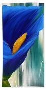 Lonesome And Blue- Blue Calla Lily Paintings Beach Towel