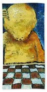 Lonesome Chess Player Beach Towel