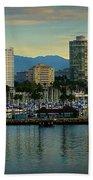 Long Beach Cityscape   Beach Towel