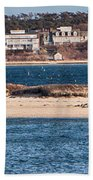 long view of Brant point lighthouse Beach Towel