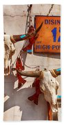 Longhorn Skulls On The Wall Beach Towel