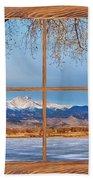 Longs Peak Across The Lake Barn Wood Picture Window Frame View Beach Towel