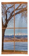 Longs Peak Winter Lake Barn Wood Picture Window View Beach Towel