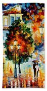 Lonley Couples - Palette Knife Oil Painting On Canvas By Leonid Afremov Beach Towel