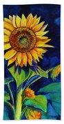Midnight Sunflower Beach Towel