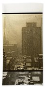 Looking Out On A Snowy Day - Nyc Beach Towel