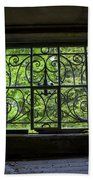 Looking Through Old Basement Window On To Vibrant Green Foliage Fine Art Photography Print  Beach Towel