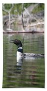 Loon And Baby Beach Towel