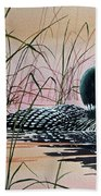 Loon Sunset Beach Towel by James Williamson