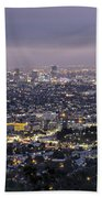 Los Angeles At Night From The Griffith Park Observatory Beach Towel