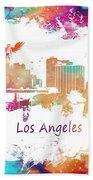 Los Angeles California Skyline Colored Beach Sheet