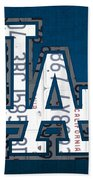Los Angeles Dodgers Baseball Vintage Logo License Plate Art Beach Towel by Design Turnpike
