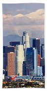 Los Angeles Skyline With Mountains In Background Beach Towel