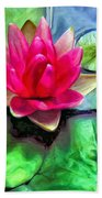 Lotus Blossom And Cloud Reflection Beach Towel