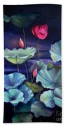 Lotus On Dark Water Beach Towel
