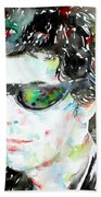 Lou Reed Watercolor Portrait.2 Beach Towel