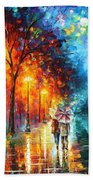 Love By The Lake - Palette Knife Oil Painting On Canvas By Leonid Afremov Beach Towel