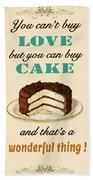 Love Cake Typography Beach Towel