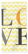 Love Chevron Yellow Beach Towel