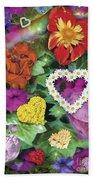 Love Flowers Garden Beach Towel