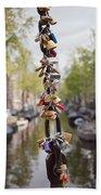 Love Padlocks In Amsterdam Beach Sheet