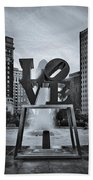Love Park Bw Beach Towel by Susan Candelario