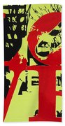 Love - Red On Lime Beach Towel