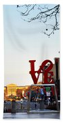 Love Statue And The Art Museum Beach Towel