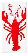 Love You Lobster With Feelers Beach Towel