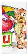Love You Teddy Bear Beach Sheet