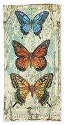 Lovely Butterfly Trio On Tin Tile Beach Towel