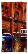 Lovers In The Rain Stroll St Catherine Street Near Morgans Department Store Vintage City Scene Art Beach Towel