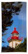 Low Angle View Of A Lighthouse, Morgat Beach Towel