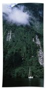 Low Angle View Of A Mountain, Milford Beach Towel